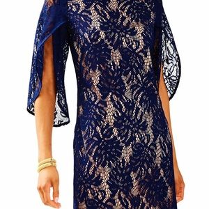 NWT Lilly Pulitzer Navy Lace Long-Sleeve Dress